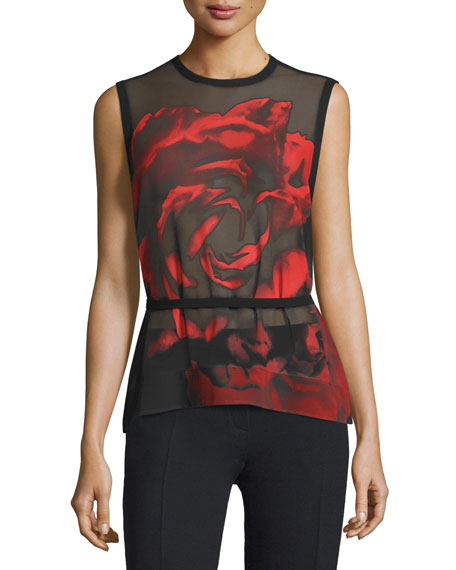 Sleeveless Sheer Rose Tank, Black