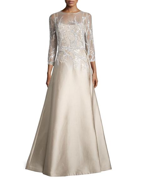 Rickie Freeman for Teri Jon3/4-Sleeve Embellished Ball Gown,