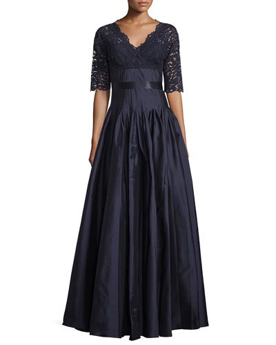 Half-Sleeve Lace Combo Gown, Navy