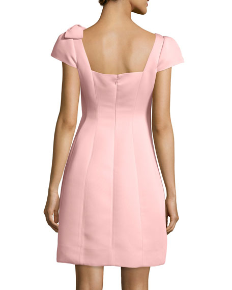 Cap-Sleeve Fit & Flare Dress, Peach
