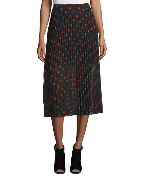 McQ Alexander McQueen Pleated Polka-Dot Midi Skirt, Red/Black