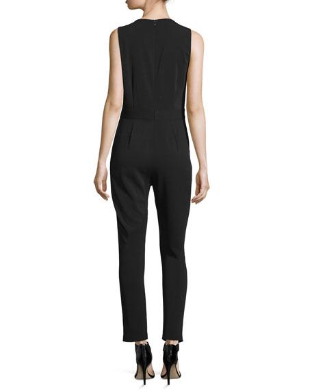 Sleeveless Lace-Inset Jumpsuit, Black