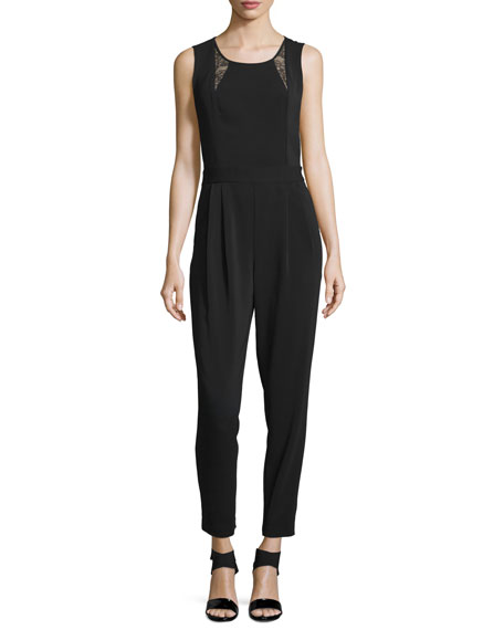 Laundry by Shelli Segal Sleeveless Lace-Inset Jumpsuit, Black