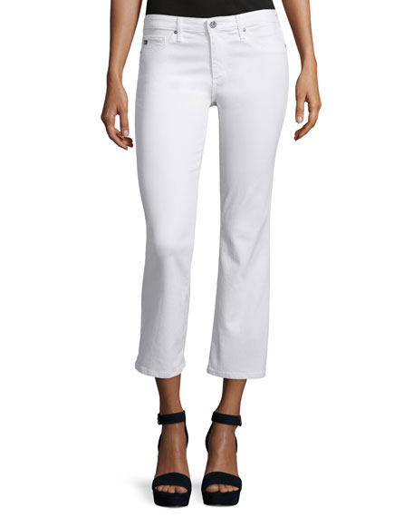 AG The Jodi Slim Flare Cropped Jeans, White | Neiman Marcus