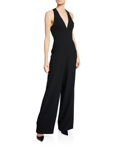 Black Halo Halter-Neck Wide-Leg Jumpsuit. Stargazer