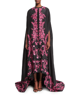 Floral-Embroidered Evening Cape, Fuchsia