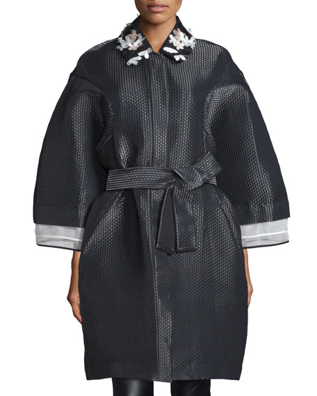 Monique Lhuillier Embellished-Collar Oversized Coat, Noir