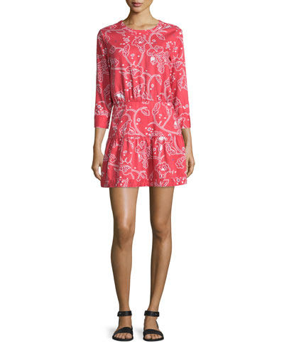The Tennant 3/4-Sleeve Cutout Dress, Chrysanthemum Bandana Paisley