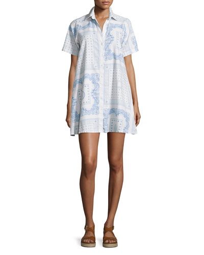 The Rolled-Sleeve Button-Front Shirtdress, Dirty White Bandana