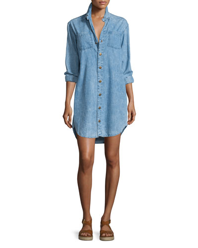 The Jamie Button-Front Shirtdress, Pierrot