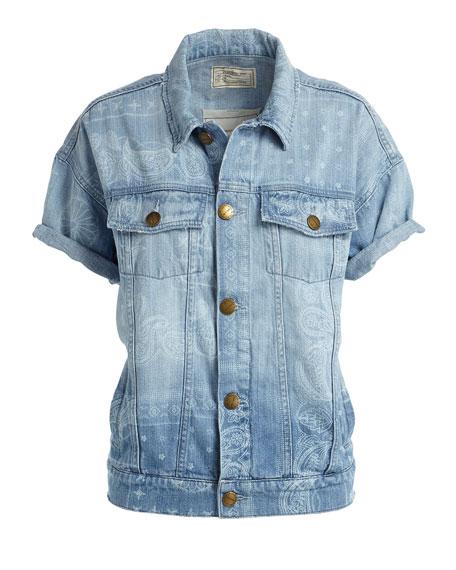 The Rolled Sleeve Trucker Denim Jacket, Bandana