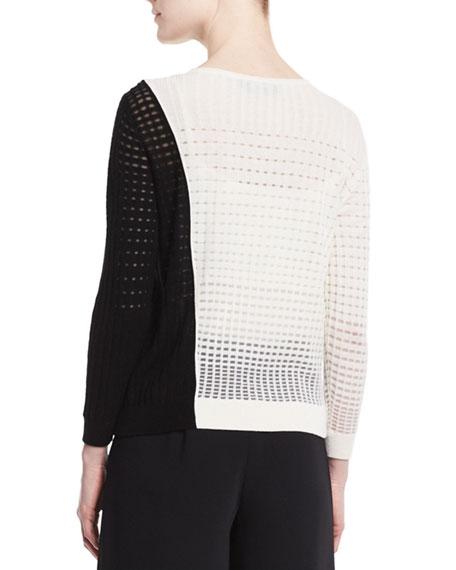 Colorblock Open-Weave Sweater, Black/White
