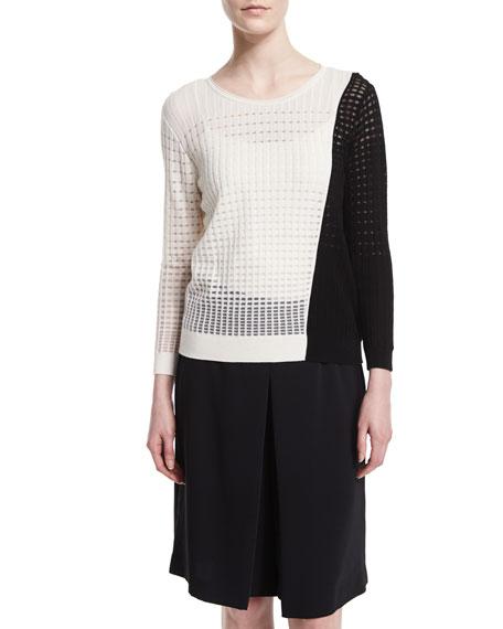 Magaschoni Colorblock Open-Weave Sweater, Black/White