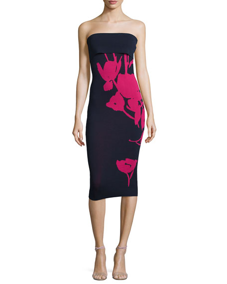 Sachin & Babi Noir Strapless Embroidered Cocktail Dress