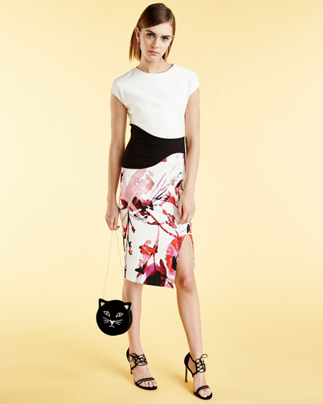 Cap-Sleeve Floral Combo Sheath Cocktail Dress