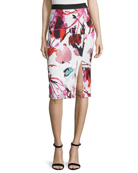 Sachin & Babi Noir Floral Jacquard Pencil Skirt