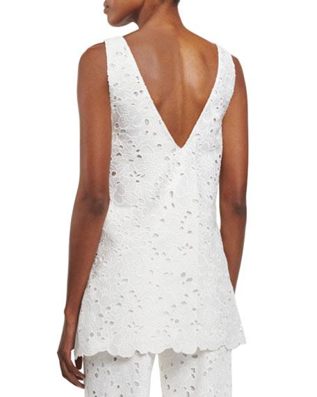 Sleeveless V-Neck Embroidered Tunic