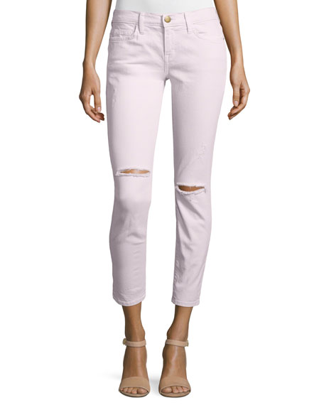 The Stiletto Distressed Skinny Jeans, Forever Pink