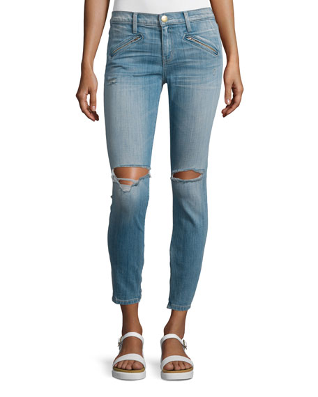 The Silverlake Zip Cropped Skinny Jeans, Ticker Destroy