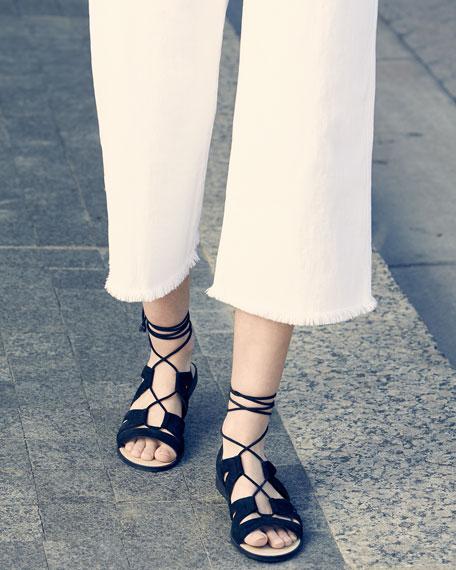 The Cropped Hampden Trousers, Sugar W/Raw Hem
