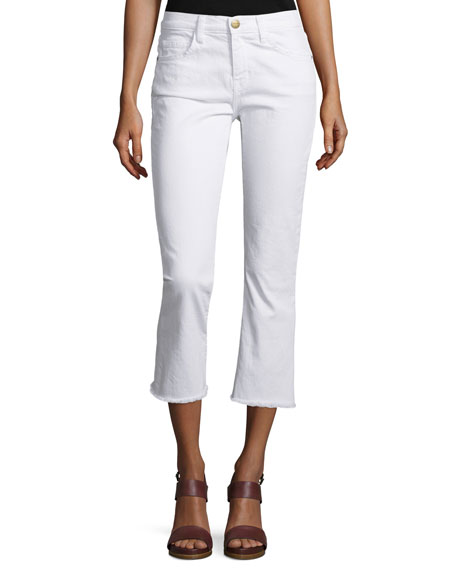 Current/Elliott The Kick Slim-Fit Cropped Jeans, Sugar W/Raw