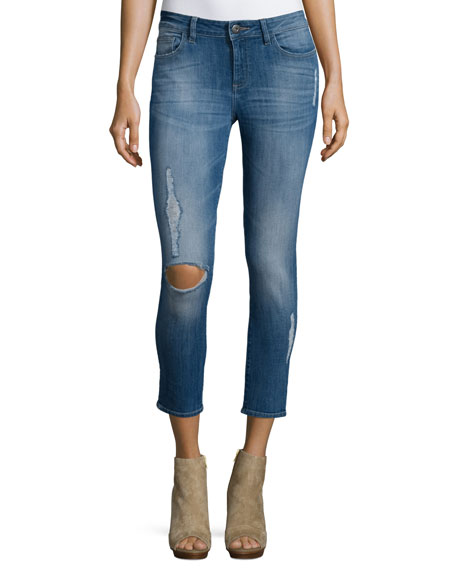DL 1961 Premium DenimFlorence Distressed Skinny Cropped Jeans,