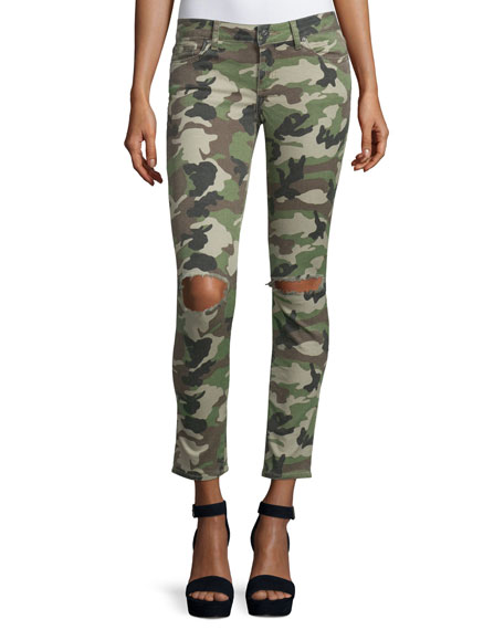 DL 1961 Premium Denim Emma Camouflage Distressed Skinny Jeans, Warden