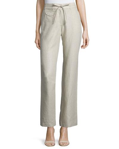 Straight-Leg Drawstring-Waist Pants, Natural