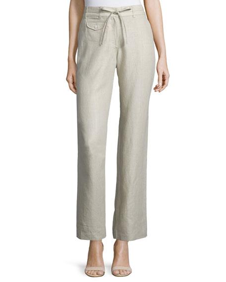 Neiman Marcus Straight-Leg Drawstring-Waist Linen Pants, Natural