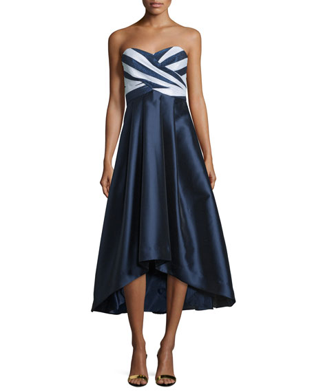 Shoshanna Strapless Sweetheart-Neck Midi Gown, Navy/Optice