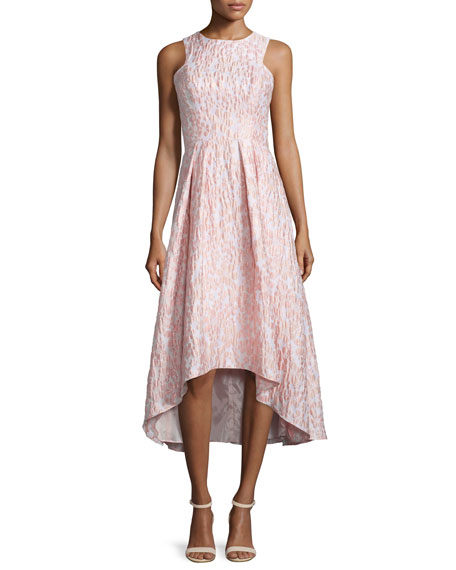 Shoshanna Sleeveless Printed High-Low Cocktail Dress, Blush
