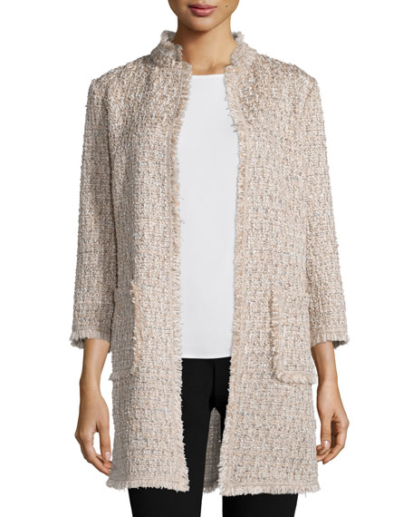 Neiman Marcus Open-Front Boucle Topper Jacket, Tan