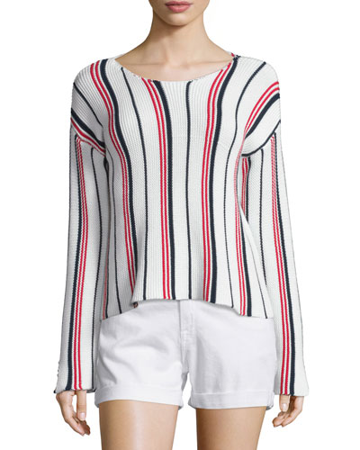 Cropped Long-Sleeve Striped Top, Vertical Stripe
