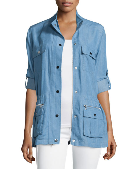 Neiman Marcus Snap-Front Chambray Safari Jacket, Denim