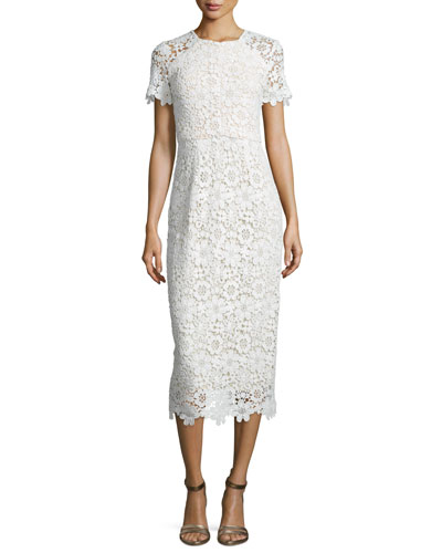 Short-Sleeve Lace Sheath Dress, Optic