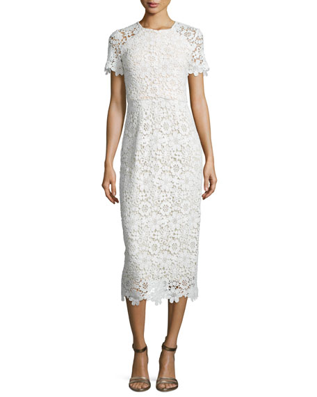 Shoshanna Short-Sleeve Lace Sheath Dress, Optic
