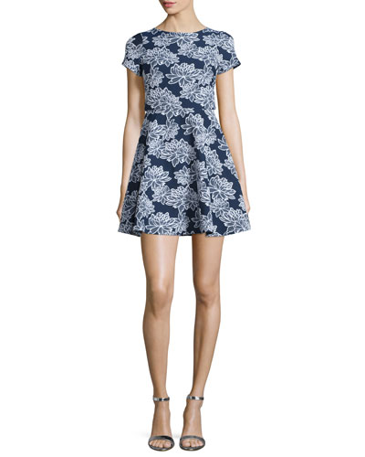 Short-Sleeve Floral-Print Party Dress, Navy/Optic