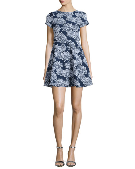 Shoshanna Short-Sleeve Floral-Print Party Dress, Navy/Optic