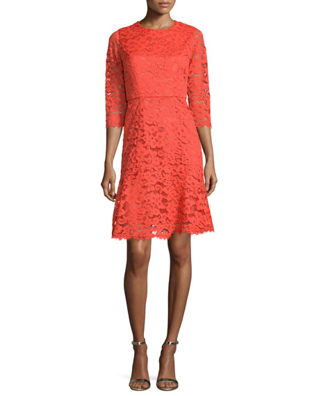 Shoshanna 3/4-Sleeve Jewel-Neck Lace Dress, Scarlett