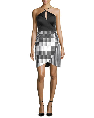 Halter Combo Striped-Skirt Cocktail Dress