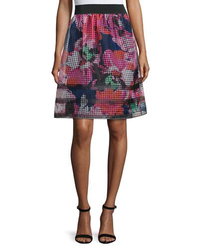 Floral-Print Mesh Midi Skirt