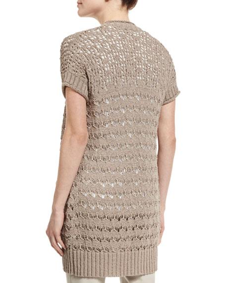 Short-Sleeve Sweater Vest, Light Brown
