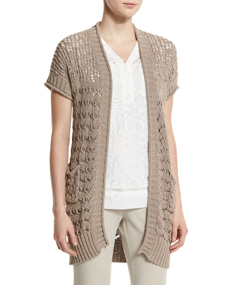 Short-Sleeve Sweater Vest, Light Brown