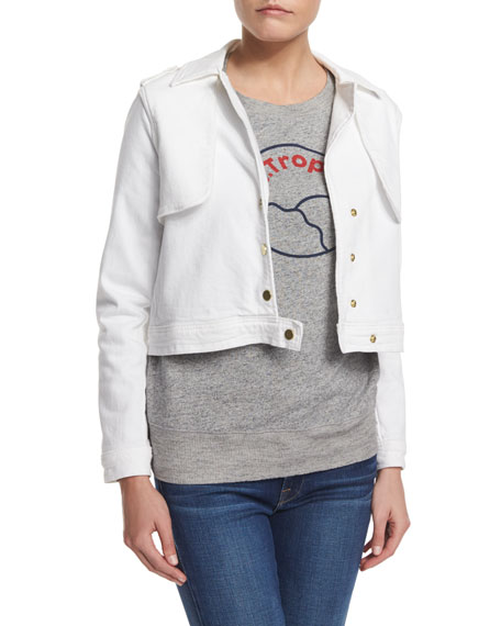 FRAME Crop Trench Jacket, Blanc