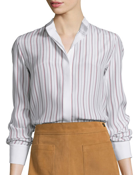 Classic Button-Front Striped Blouse, Navy/Red Stripe