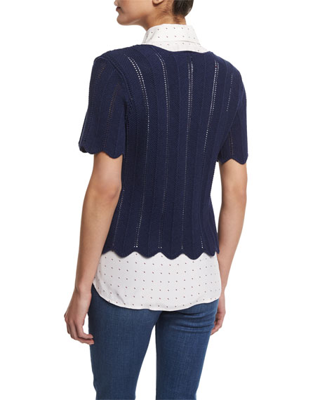 Crochet Short-Sleeve Boxy Top, Navy