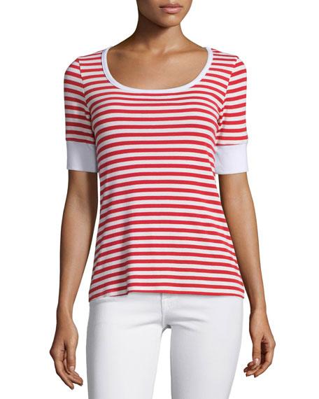 FRAME DENIMBoatneck Striped Tee, Red Stripe
