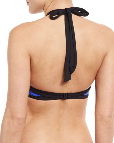 Block Party High-Neck Swim Top, Blue