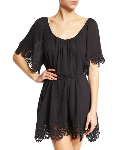 Beach Smock Lace-Trim Coverup Dress, Black