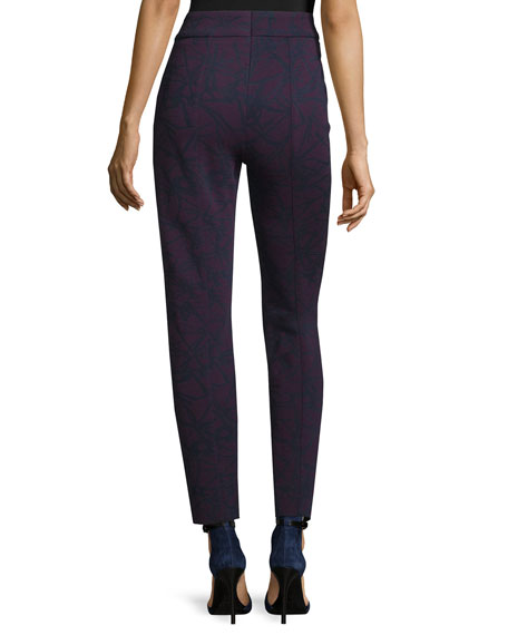 High-Waist Printed Cropped Pants, Amethyst